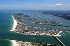 Aerial of Clearwater Beach, showing that it truly is and island.