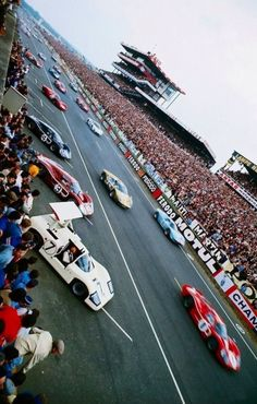 Le Mans 1967 As Mike Spence buckles up his seatbelt in the Chaparral Chev, he is surrounded by FoMoCo vehicles; the victorious Gurney/Foyt, Bianchi/Andretti and Hulme/Ruby and the Gardner/McCluskey and Schlesser/Ligier a Ferrari in sight! Sports Car Racing, Road Racing, Sport Cars, Auto Racing, Le Mans 24, 24h Le Mans, La Mans, Grand Prix, Nascar
