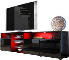 Meble Furniture & Rugs TV Stand Roma Matte Body High Gloss Doors Modern TV Stand LED (Black) | Google Shopping Home Theater Room Design, Home Theater Rooms, Red Tv Stand, Modern Tv Cabinet, Tv Cabinets, Entertainment Center, High Gloss, Living Room Furniture, Google Shopping