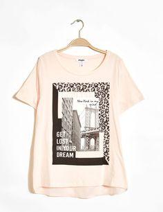 tee-shirt bi-matière imprimé rose clair