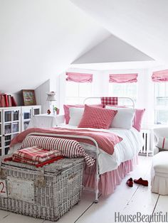 A Red and White Bedroom