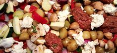 Gegrilde groenten met Italiaans gekruid gehakt en mozzarella