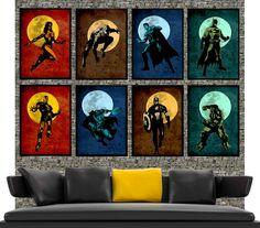 Super hero Collection - Original super hero minimalist art movie poster prints 8x 11x17- Retro marvel illustration print poster.. $85.00, via Etsy.