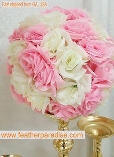 Rose Flower Ball  Wedding decoratin Ball Silk by FeatherParadise