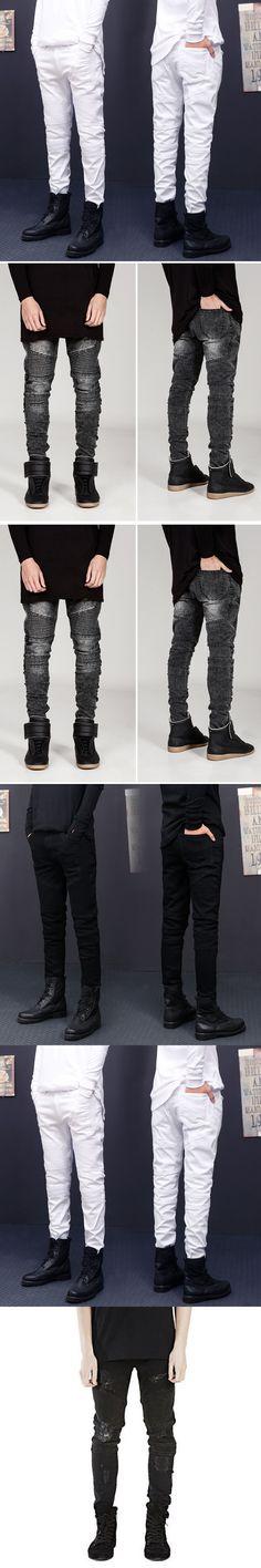 Hole Jeans Men Pants Fear of God Man Masculina Trousers Pant Boost Biker Balmai Ripped Skinny Denim Motorcycle Slim Fit Joggers