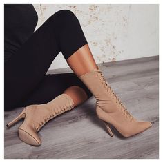 Cosmic Lace Up Ankle Boot In Nude Knit. Knit lace ups    Style: COSMIC. Sign up to newsletter for 15% off discount. #egosquad #egoofficial #shoes #shoesoftheday #fashion #fashiontips #onlineshoes #shoelover #showmyshoes #strapsandals #highheels #booties