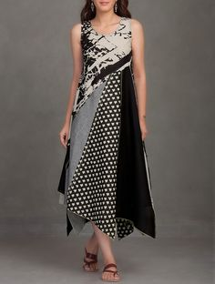 Buy Black Block Printed Thread Embroidered Upcycled Organic Cotton Dress Online at Jaypore.com