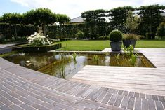 Clay paver modern garden in Belgium. Nice use of espaliered trees as fencing.