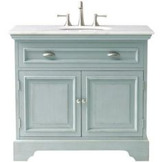 Home Decorators Collection Sadie 38 in. Vanity in Antique Blue with Marble Vanity Top in White-1666500350 - The Home Depot