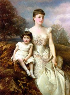 """""""Portrait of Mrs. Drury Percy Wormald and her Son"""" (1888) by Edward Hughes (1832-1908)."""