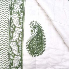Indian patterns - block print paisley - Quilted Cotton Eiderdown - Double Bedspread - Kasakosa Home Decor