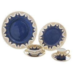 Complete Service for 12, Antique English Crushed Lapis and Gilt Garland 1