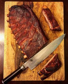 Look at that sexy slab and knice knife. These ribs were cooked over @rockwoodcharcoal the only charcoal I use. . Pic courtesy of Credit to @tgcali81 . You ready to take your Instagram game to another level? Are you ready to make serious cash? First you need to grow your account. My business partner @CupcakeProject and I are now over 500000 followers combined and that took us less than 2 years. We can teach you how to do it too. We have a FREE webinar where you can get some of our top tips at…