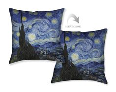 """Marvel at Vincent Van Gogh's famous masterpiece every day with our """"Starry Night Decorative Pillow."""" Regarded as one of the most recognized works of art, """"Starry Night"""" will transform any room in your"""