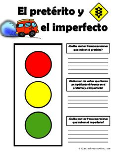 FREE Spanish Preterite and Imperfect Traffic Light Phrase Indicator from Spanish the easy way! on TeachersNotebook.com - (2 pages) - Free Spanish Preterite and Imperfect Traffic Light to have your students keep track of key words/phrases for each of these tenses! Green indicates GO - they write words/phrases that indicate ongoing
