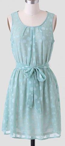 Mint Green Polka Dot Chiffon Dress