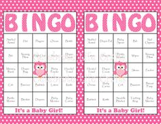 30 Baby Shower Bingo Cards - DIY Printable Party for Baby Girl - Instant Download - Pink Owl Baby Shower Gift Bingo on Etsy, $3.50
