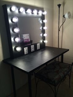 Homemade vanity mirror with lights and table