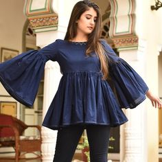 Contemporary Embroidered Top Source by bunaaijaipur Outfits indian Simple Pakistani Dresses, Pakistani Fashion Casual, Indian Fashion Dresses, Pakistani Dress Design, Girls Fashion Clothes, Fashion Outfits, Ladies Fashion Tops, Ladies Tops, Fashion 2018