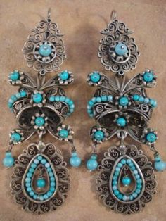 Taxco Silver Frida Earrings. Sterling silver with filigree turquoise beads.
