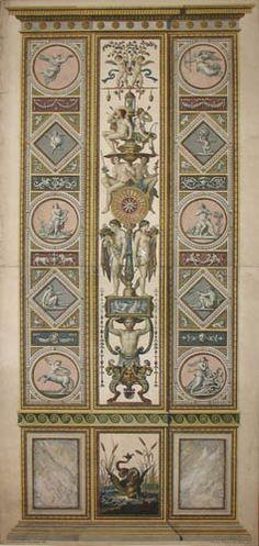 Raphael Pilaster 1). Allegory of Day and Night, Raphael Sanzio d'Urbino (1483-1520) (after) Ludovico Teseo (intermediate draftsman) Giovanni Volpato (1740-1803) (engraver) Frescoed Pilasters from Loggia di Rafaele nel Vaticano [Loggia of Raphael in the Vatican] _BM