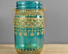 Painted Mason Jar Teal Blue Glass with Bohemian Golden Design