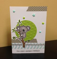 CTMH Baby Card using the Dots Embossing Folder, ShinHan Touch Twin Markers, Washi Tape, and Slate Diagonal Ribbon