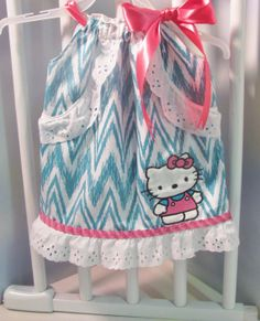So Sweet Baby Girl Pillowcase Chevron Dress with My Little Kitty 0-3m thru 6yrs