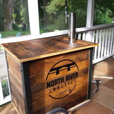 The #NorthRiverRoasters Nitro Cold Brew Coffee Cart! Made from reclaimed materials from the Poughkeepsie Underwear Factory #upcycle #repurpose #reclaim #nitrocoldbrew #POKUndieFactory