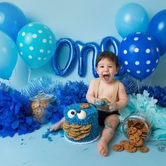 Monster First Birthday, Boys 1st Birthday Cake, Birthday Wishes For Kids, Monster 1st Birthdays, Birthday Themes For Boys, 1st Birthday Decorations, Happy Birthday, Monster Smash Cakes, Cookie Monster Party