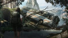 Landscape. wrecked bus. forest. She belongs to the falls by Daazed-DA on DeviantArt