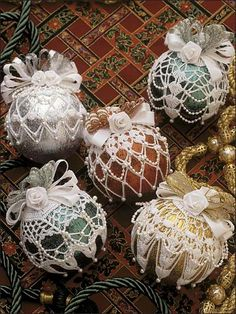 "Marvelous Metallics  Accent your metallic Christmas ornaments with these beautiful crocheted ornament toppers!   Size: Fits 3"" balls.  Skill Level: Intermediate"