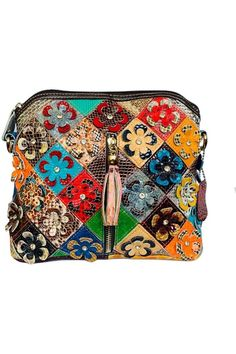 (This is an affiliate pin) Women?s Multicolor Floral Shoulder Bag Genuine Leather Patchwork Colorful urses Floral Shoulder Bags, Shoulder Handbags, Snake Patterns, Autumn Fashion Casual, Small Crossbody Bag, Leather Handbags, Diaper Bag, Purses, Colorful