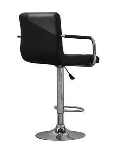 http://www.bonsoni.com/aleo-leather-match-black-bar-stool-pair-by-sherman  This funky bar stool adds a contemporary look in leather match with chrome base - footrest and gas lift mechanism. Assembly required. Sold in boxes of two.   http://www.bonsoni.com/aleo-leather-match-black-bar-stool-pair-by-sherman