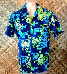 VLV -Vintage 1950s BRADLEY J mens BRIGHT TAPA Print COTTON BARKCLOTH Shirt - L #BradleyJ #Hawaiian
