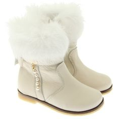 Miss Blumarine Girls Cream Leather Ankle Bow Boots With Fur Trim... ($295) ❤ liked on Polyvore
