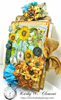 Sunflowers Mini Album, Time to Flourish, by Kathy Clement for Frilly and Funkie…