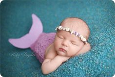 Crochet Newborn Mermaid Tail & Matching Sea Shell Headband https://www.facebook.com/CreatingtheOccasion