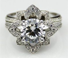 A Museum 14K White Gold Floral 3.42CT Russian Lab Round Cut Ring