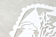 Detail of my paper cut poster of Little Red Riding Hood by PinkNounou