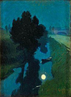 Charles Guilloux - Clair de lune, The influence of Japanes woodblock prints is unmistakable. Art And Illustration, Landscape Illustration, Nocturne, Landscape Art, Landscape Paintings, Landscapes, Art Amour, Inspiration Art, Art Design