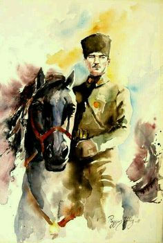 AtaTurk Soldier Drawing, Turkish Army, The Legend Of Heroes, Oil Painting Pictures, Fathers Love, Watercolor Paintings, Watercolour, Design Art, Art Projects