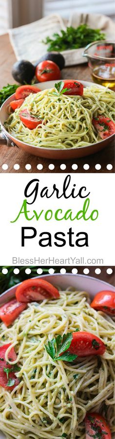garlic avocado pasta easy 20 minute gluten-free meal for those busy weeknights! www.blessherheartyall.com
