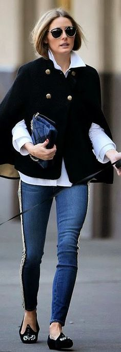 olivia palermo Who made Olivia Palermos black cape coat, blue skinny jeans, white button down top, blue handbag, and sunglasses that she w...