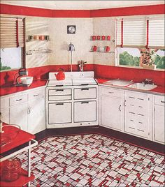 1937 Sealex Red & White Kitchen  (Our own house has very similar flooring in green.)