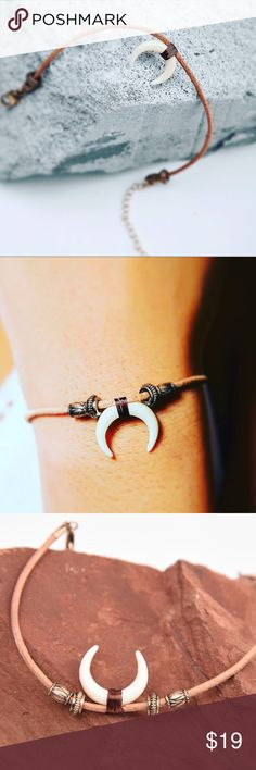 """Carved Horn Bracelet zinc alloy, mix-media designing at its best, combination of resin carved horn, faux leather because we love our furry friends, and lightweight metals make for a beautifully feminine look, slightly adjustable to fit 6.75""""-9"""" wrists Jewelry Bracelets"""