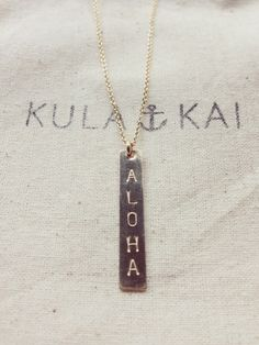 """ALOHA"" Vertical Bar Necklace"