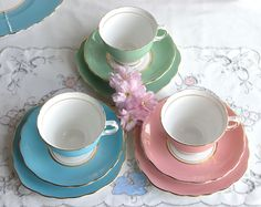 Vintage English bone china tea set - blue / turquoise Colclough cup, saucer and plate for a vintage tea party.
