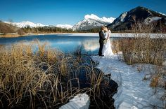 Mountain wedding portrait near Banff | Mountainside Bride