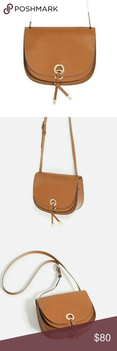 Authentic ZARA Basic Collection crossbody bag Brown leather with polyester lining inside Brand new,  unused Zara Bags Crossbody Bags